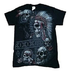 GILDAN INDIAN SKULL MENS XL BLACK COTTON TEE